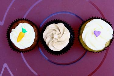 Cream Cheese Frosted Carrot Cupcakes, Chocolate Cupcakes with Espresso Swiss Meringue Buttercream,  Cream Cheese Frosted Banana Cupcakes