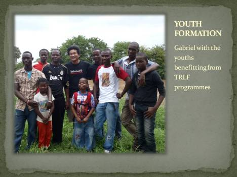 Gabriel with the youths benefitting from TRLF programmes