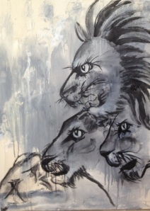 Eyeing Their Prey by Ruth Chua. Acrylic. 60cm x 80cm Unframed. $3000