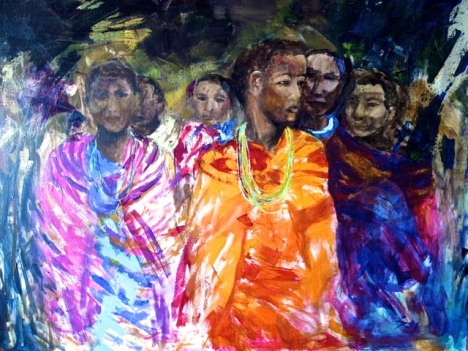 Masa'ai by Suzanne Leong. Acrylic. 101cm x 76cm Unframed. $4000
