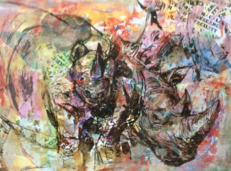 Plight of the Rhinos by Claire Wee. Collage and Acrylic. 101cm x 76cm Unframed. $3000