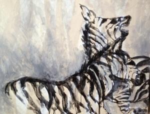 Zebras - A Ritualized Fight by Ruth Chua. Acrylic. 90cm x 70cm Unframed. $3500