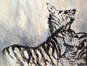 Zebras - A Ritualized Fight by Ruth Chua. Acrylic. 90cm x 70cm Unframed. $3500