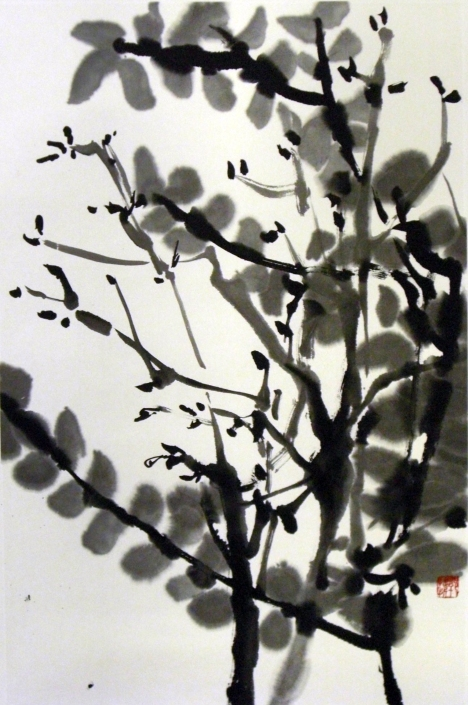 Silhouette along the Corridor Guava and Pomegranate by Quek Kiat Sing - Sold !