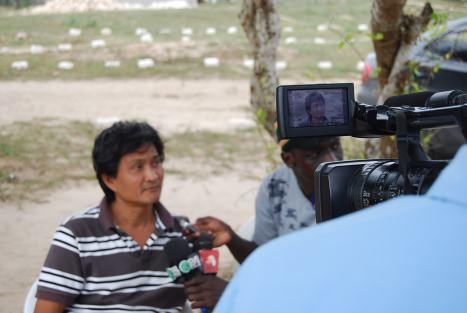 Gabriel being interviewed